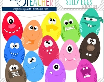 Spotted Silly Character Eggs Clip Art Set!!!