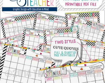 Hello Planner: Illustrated Printable Calendar Pages for Any Year!!!