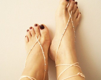 Blush & silvery Oriental barefoot sandals - Feet Accesories - Summer - Footwear - nude shoes sandles - foot jewelry, yoga, beach