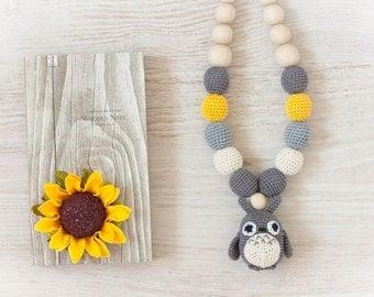 Nursing Necklace Organic My Neighbor Totoro,Teething Necklace, Crochet Baby Necklace, Breastfeeding Necklace, Nurse Necklace, Totoro Shower