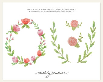 Watercolor Digital Clip Art 4 PNG Hand Painted Wreaths & Flower clipart, collection 1
