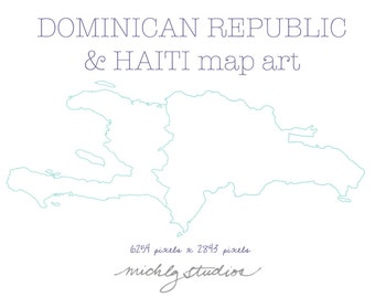VECTOR and PNG Dominican Republic & Haiti map digital clip art (together and separate)