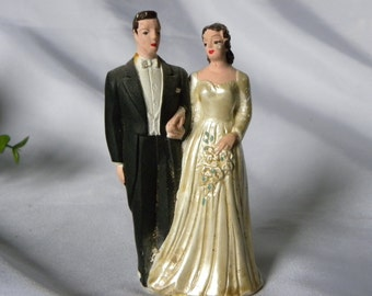 1950 Cake Topper, Bride and Groom, Mid Century Bridal Cake Topper, Retro, Vintage Wedding Cake Topper, Antique Bridal Cake Topper