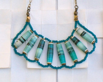 One Of A Kind Delicate Turquoise Necklace /Turquoise Daydream Necklace/ OOAK Handmade Recycled Paper Beads, Glass Seed Beads and Brass Chain