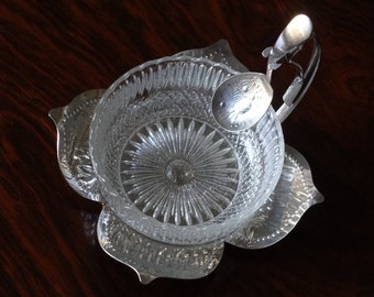 Vintage English Silver Plate and Chrome Cut Glass Preserves Sugar Bowl & Pineapple Spoon - Elegant Way to Serve Your Jams Preserves or Sugar