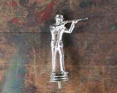 mens silver shooting trophy topper fedora gun rifle shotgun