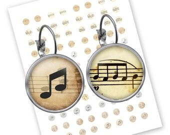 INSTANT DOWNLOAD - Let's Listen to the Music - Printable 12 mm (1/2 inch) round for earrings, cufflinks, ring- Jpg File no. A087