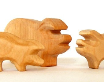 Pig Family,Pig with Piglets, Wooden animals, Waldorf Toys