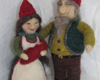 Needle felted Strawberry Gnomes woman, man, baby.... grandparents