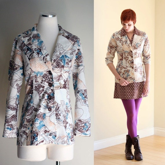 FINAL CLEARANCE SALE: Vintage 60s Off White Printed Long Blazer -  Fall Floral Psychedelic Print Jacket with Large Collar - Size Medium