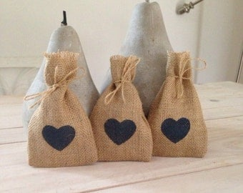 150 Navy Heart - Hessian/ Burlap Wedding Favor Bags