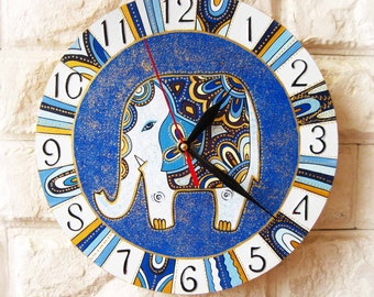 Blue Elephant Wall Clock. Home Decor for Children, Nursery Playroom. Wall clocks handmade. Dad Gift, Gift to our Father, Fathers Day Gift.