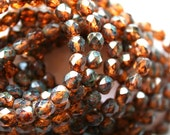 25 Czech Topaz Fire Polished Picasso Faceted Beads