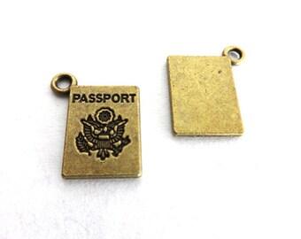 5 Antique Bronze Mini Passport Charms/Pendants