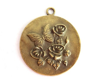 2 Lovely Antique Bronze Butterfly and Flowers Charm/Pendant