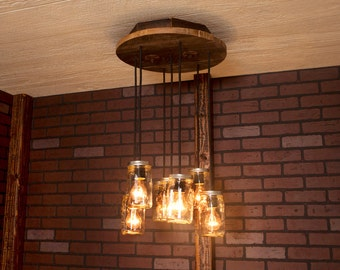 Mason Jar light/ Chandelier/ Reclaimed Wood and 7 Pendants. R-18C-CMJ-7/ Mason Jar Chandelier