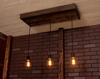 Industrial lighting, Industrial Chandelier, Antique Brass With Reclaimed Wood and 3 Pendants. R-1434-AC-3