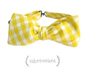 SUNSHINE GINGHAM BOWTIE // men's square-cut, self-tie bowtie with adjustable neckstrap