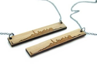 New York City Skyline Pendant Necklace - Etched Bamboo NYC Necklace