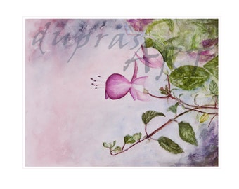 Fuscia Flower Painting - an original watercolor