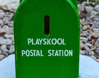 Vintage Playskool 1950's Rare Green Postal Station Wood Children's Toy with Three Blocks
