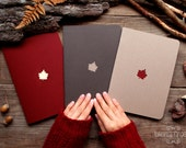 Forest notebook with a carved pattern - Maple-leaf - set of 3 notebook