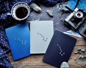 "Night notebook-sketchbook with a carved pattern - constellation ""Ursa Major"" - set of 3 notebook"