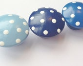 Blue Hand Painted Drawer Knobs with White Polka Dots - One Knob