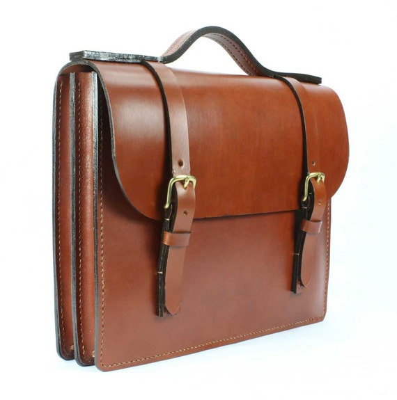 "Chestnut English Bridle Leather Briefcase 16"" x 12"" x 3"""