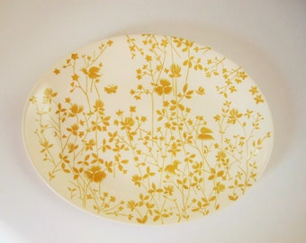 Large Serving Platter - Sheffield Ironstone 'Golden Meadow' Pattern -Mustard Color - 1950s - Mix and Match - Sheffield Ironstone – U.S.A.