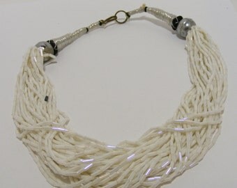 Vintage Multistrand White Seed Bead Necklace