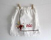 Vintage Bread Bag Cotton Embroidered Flowers Kitchen Decor Spring Summer Red Poppy Bouquet