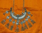 Vtg 60s 70s OOAK boho India Banjara Rajasthan Ethnic tribal gypsy belly dance Silvertone crescent dangle coin statement necklace