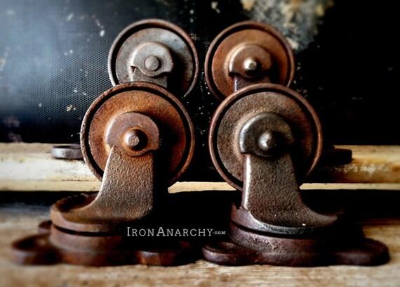 Vintage roulettes industrielles roues en fonte m tal usine - Roulette industrielle pour meuble ...