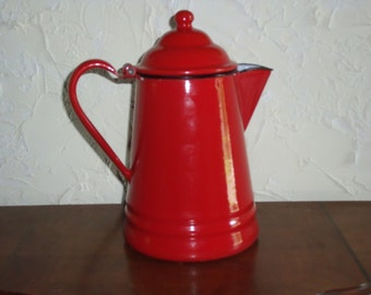 Vintage Enamelware Graniteware Red Coffee Pot With Gray Mottled Interior 1930s