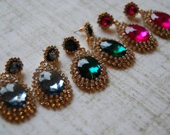 Vintage Style COUTURE Crystal Rhinestone Chandelier Dangle Earrings
