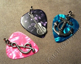Cat/Dog/Pet Collar Tag Made from Genuine Guitar Pick w/ Silvertone Charm