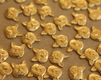 12 pc. Small Raw Brass Cat Heads: 8mm by 8.5mm - made in USA | RB-237