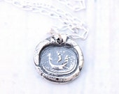 Boat Load of Love, Cherub Antique Wax Seal Necklace, Precious Metal Clay Jewelry Fine Silver Valentine Wax Seal Jewelry