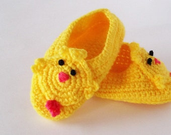 Toddler Slippers Baby Chick Crocheted Handmade