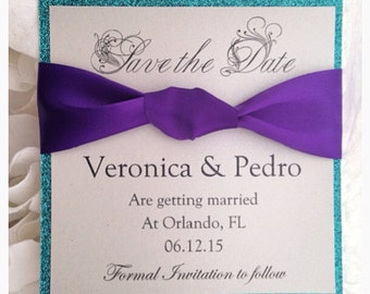 Save the dates, Teal and Purple Save the Date Card
