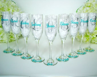 9 Bridesmaid Champagne Glasses - Personalized Toasting Flutes - Bridesmaid Toasting Flutes - Wedding Party Flutes - Bridesmaid Gifts