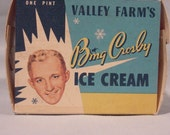 Vintage Advertising Carton Bing Crosby Valley Farm's Ice Cream, Pint Paper Box