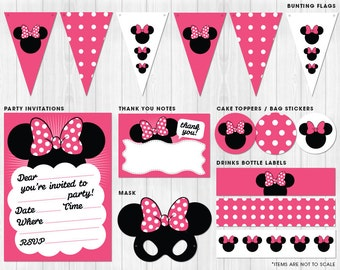 Girl's Mouse with Bow, Printable Party Pack (similar to Minnie Mouse) // Digital files to print