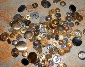 Vintage Buttons, Metal, Mixed Buttons, Gold Buttons,  Silver Buttons, Ornate Buttons, 125 Buttons