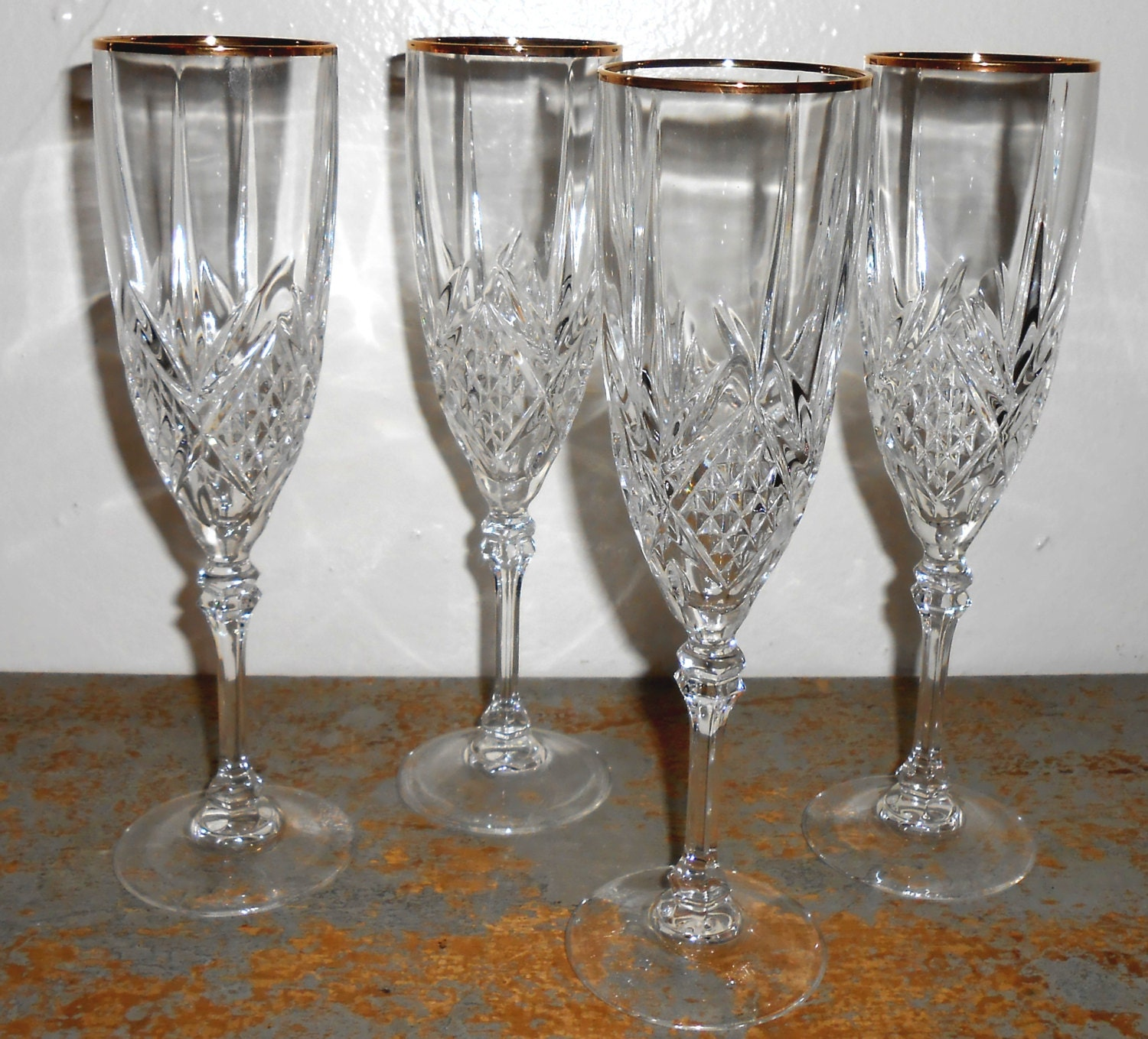 Vintage Wine Glasses Lead Crystal Cut Glass Gold By