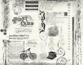 21 Photoshop Vintage Brush Scraps- Commercial Use Allowed - Damask, Music, Script, Ornament, Bike, Bird, Post Card - Graphic Design Tools