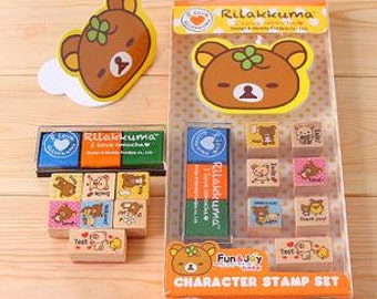 Character Stamp Sets(with ink pads) - Korean Rubber Stamp - Lovely Bear - English Study - Filofax - Yellow Style