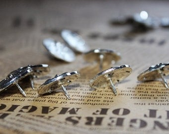 HQ Silver-Plated Leaves Push Pins - Zinc Alloy Push Pin - Thumbtack - Drawing Pin - Metal Pins - 3 pcs