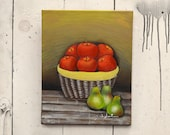 """Original Art Canvas """"Fruit Basket"""" 11x14"""", OOAK. 100% of the profits go directly to artists with disabilities Item 35 Zaida S."""